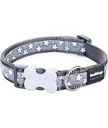 Obojek RD 25 mm x 41-63 cm - Stars White on Grey