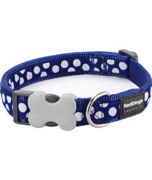 Obojek RD 25 mm x 41-63 cm - White Spots on Navy