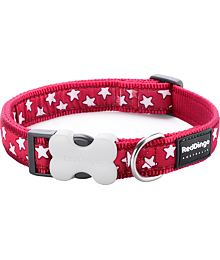 Obojek RD 12 mm x 20-32 cm - Stars White on Red