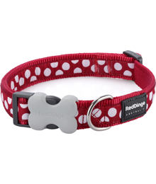 Obojek RD 20 mm x 30-47 cm - White Spots on Red