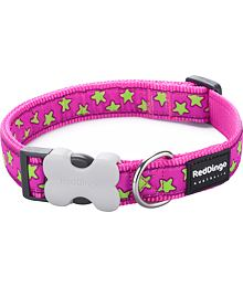 Obojek RD 12 mm x 20-32 cm - Stars Lime on Hot Pink